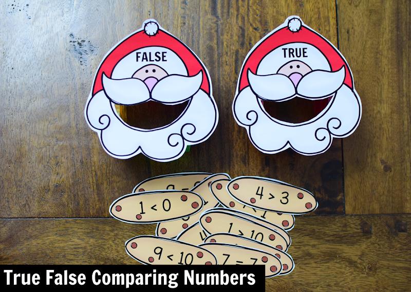 Kindergarten Math Center for December: Comparing Numbers