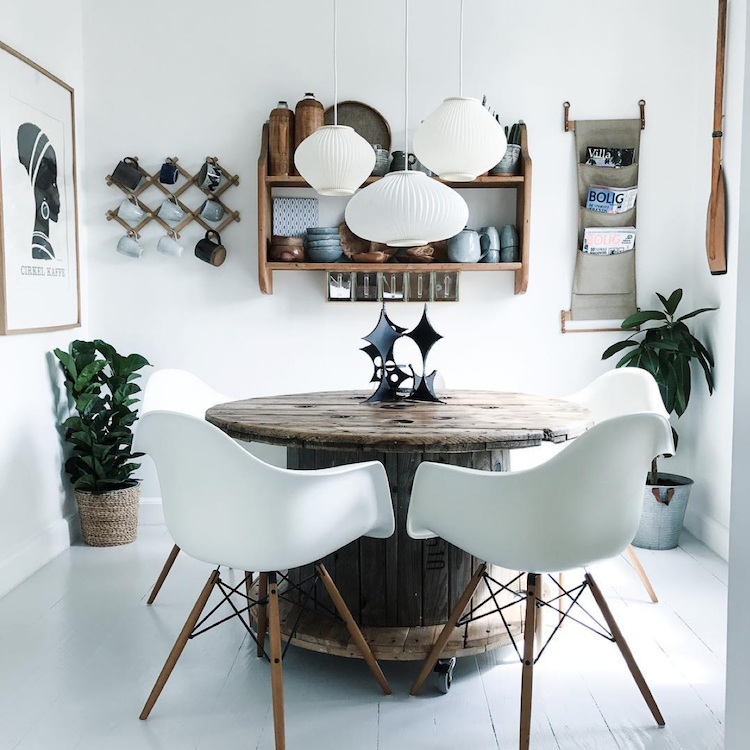 Calm danish interior with eames chairs, mid century modern design and cacti