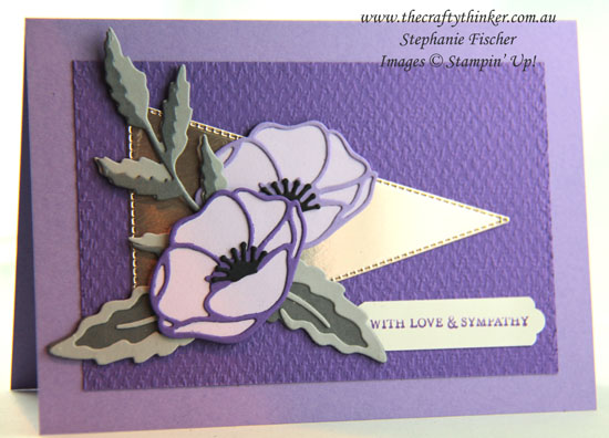 #thecraftythinker #stampinup #cardmaking #sympathycard #poppymoments , Poppy Moments, Sympathy Card, Stitched Triangle Dies, Tasteful Textile embossing folder, Stampin' Up Demonstrator, Stephanie Fischer, Sydney NSW