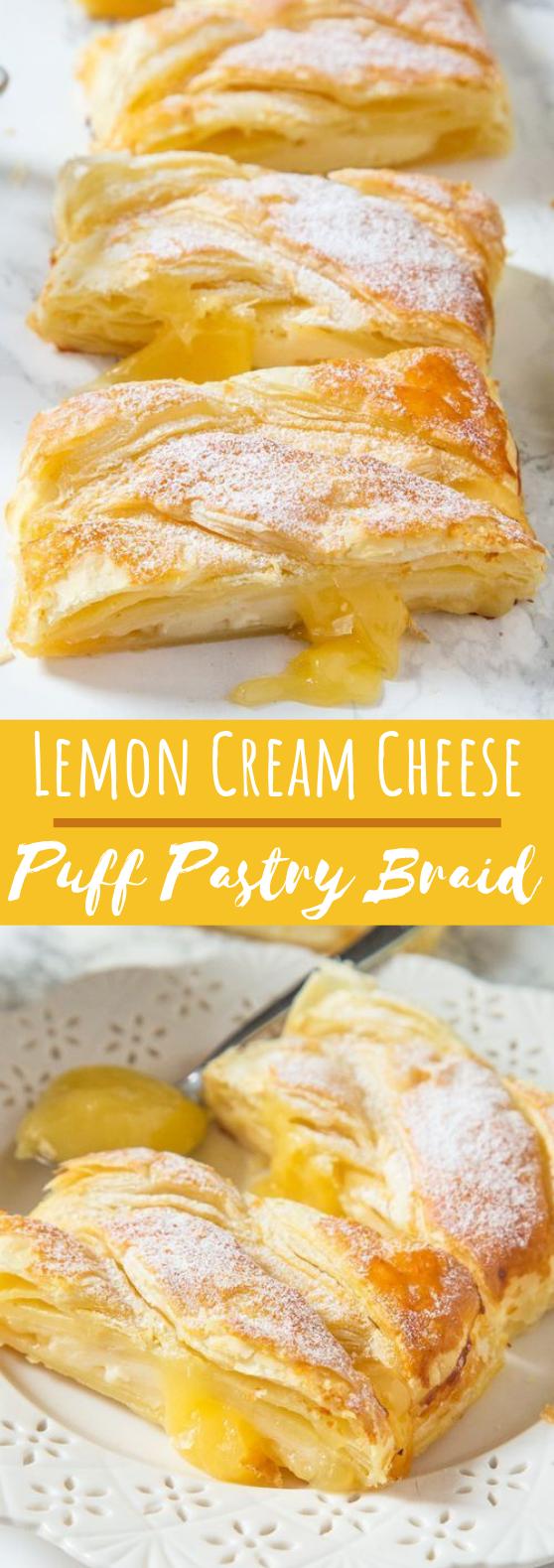 Lemon Cream Cheese Puff Pastry Braid #desserts #recipes