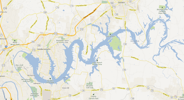 Dòng sông ở Tennessee -Mỹ nhìn trên bản đồ google map