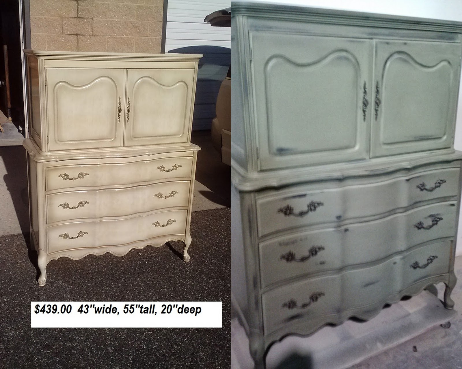French Provincial Armoire Painted Olive With Heavy Distressing Brown Undercoat And A Black Glaze