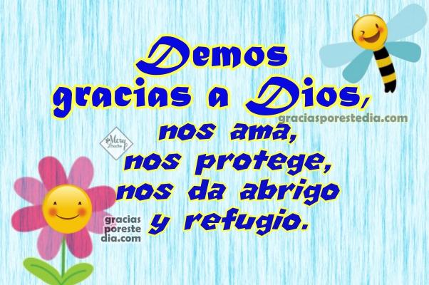 Frases de gracias a Dios, demos gracias al Señor, imágenes con frases de gracias, reflexión cristiana por Mery Bracho.