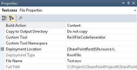Provision and automatic update of embedded resources to Resources folder in Sharepoint hive
