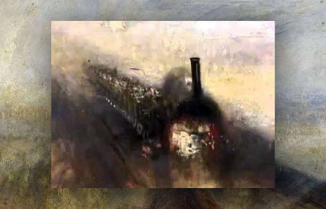 """Um fragmento de um trem na pintura """"Chuva, Vapor e Velocidade"""""""