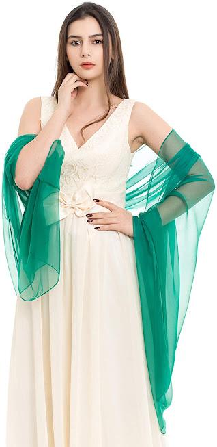 Attractive Green Chiffon Scarves