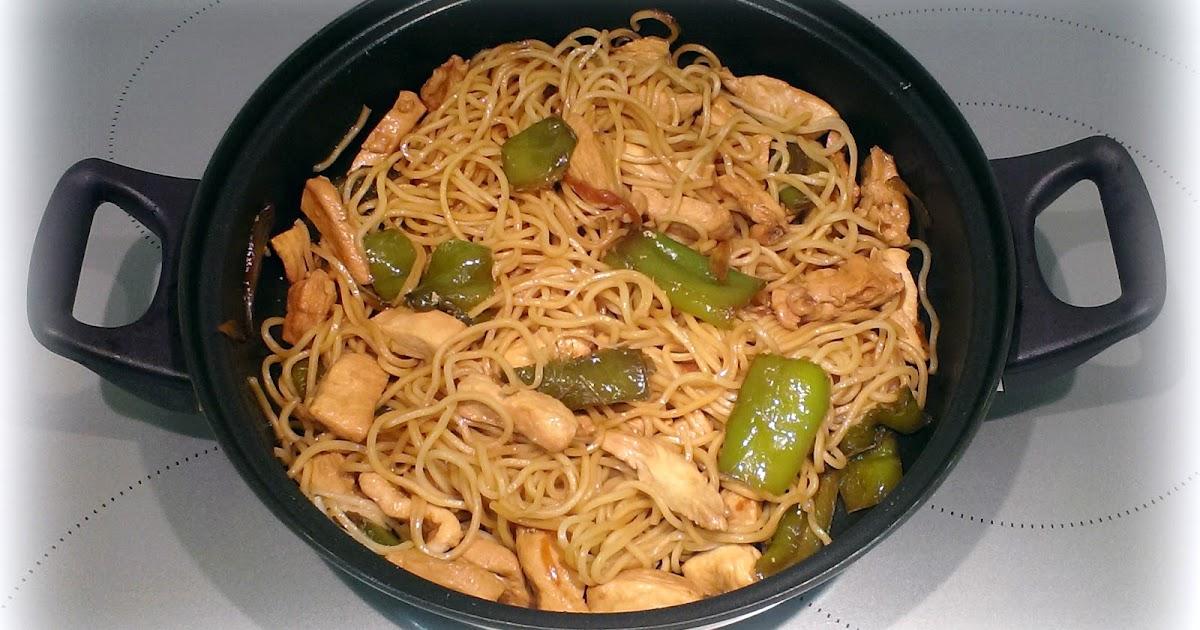 Recetas originales wok de noodles con pollo pimiento for Cocinar wok en casa