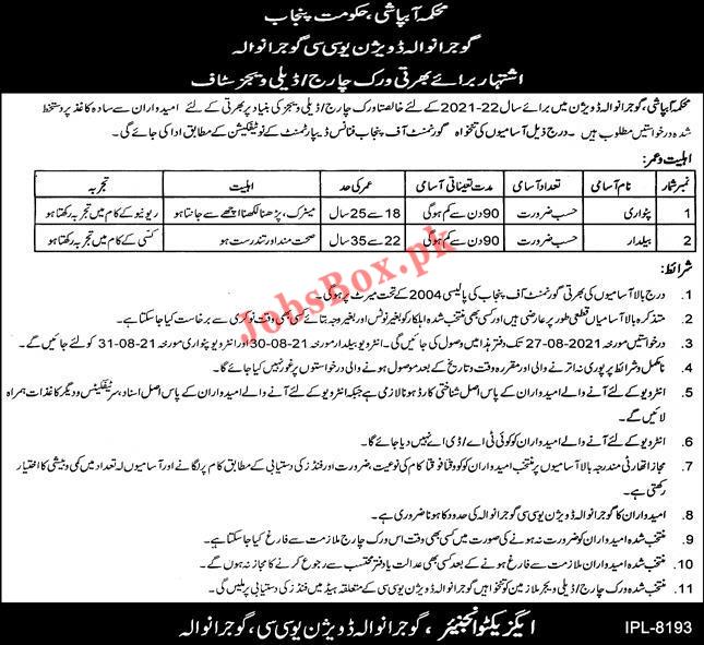 Irrigation Department Punjab Jobs 2021 in Gujranwala Division