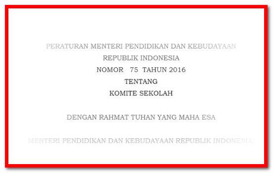 Download Peraturan Menteri No 75 Tahun 2016 Tentang  Komite Sekolah