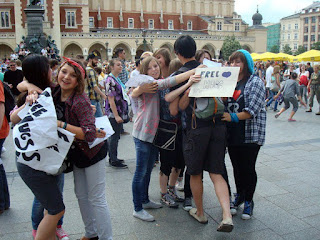 Alvin gets swarmed by a group of teenage girls! (Photo courtesy of Free Hugs Kraków)