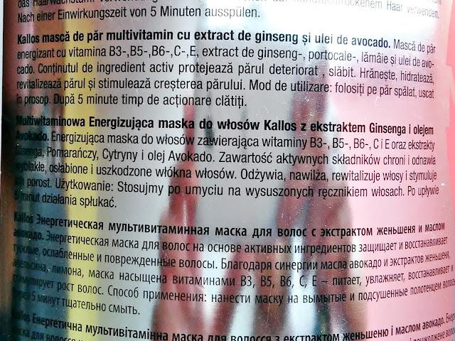 Kallos KJMN Multivitamin - Energizująca maska do włosów, etykieta