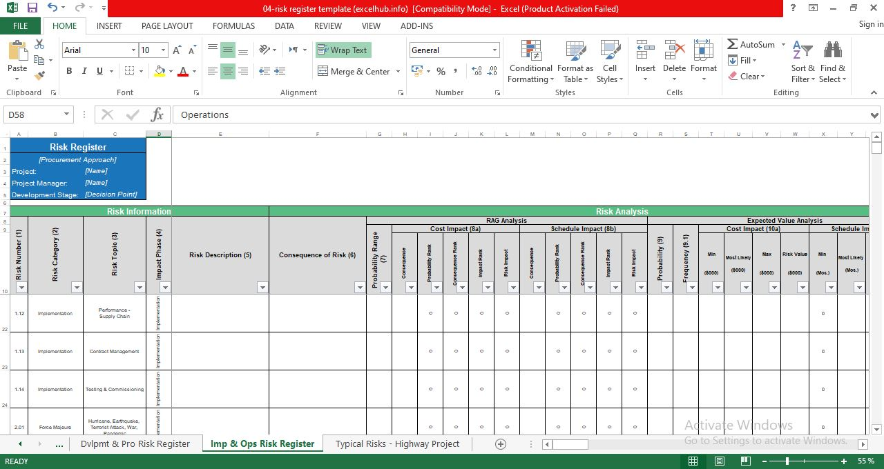Project Risk Register Template in Excel
