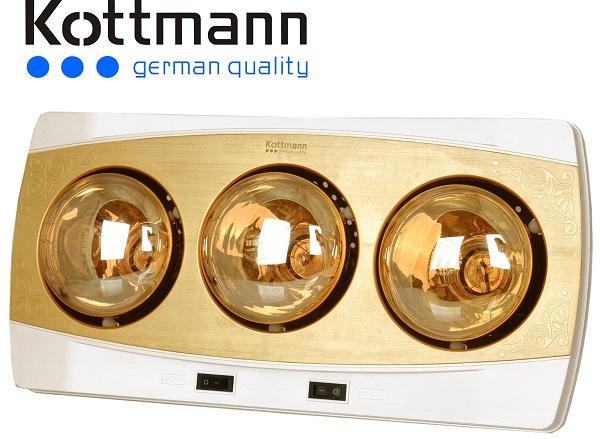 Đèn sưởi nhà tắm Kottmann 3 bóng K3BH 825w, sưởi ấm tức thì, an toàn khi sử dụng I SALE 50%