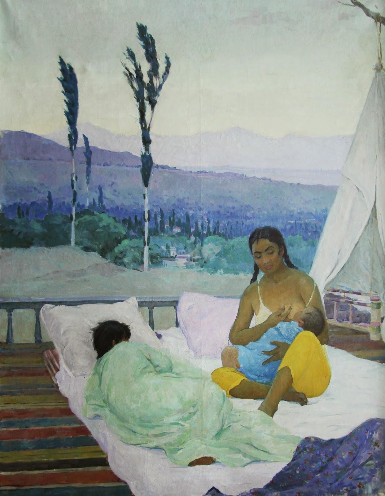 Ouzbékistan, Tachkent, Musée des Beaux-Arts, R.A. Akhmedov, Maternité, © L. Gigout, 2012