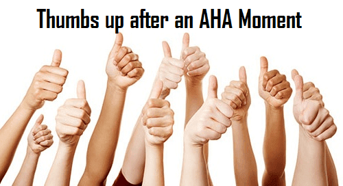 Ask for thumbs up after an AHA moment