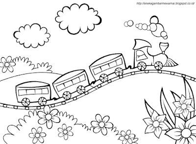 Gambar Mewarnai Kereta Api 2