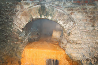 Hot water is channeled to create the baths