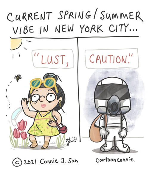 """Sketchbook comic by Connie Sun, cartoonconnie, about the first spring after a pandemic, referencing the Ang Lee film """"Lust, Caution"""""""