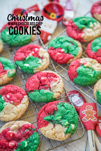 Christmas White Chocolate Chip Cookies | Plain Chicken