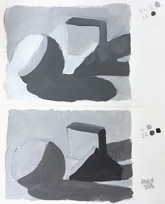Daily Art 08-14-2018 3-value 2 light-1 shadow and 1 light-2 shadow still life painting exercise