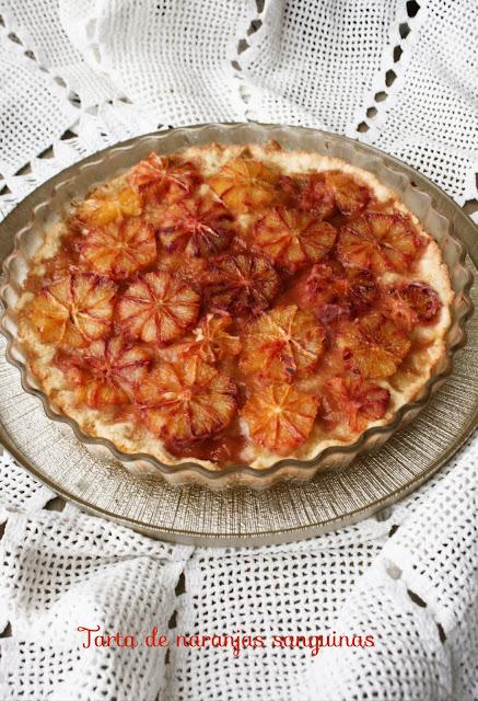 Tarta , naranjas sanguinas