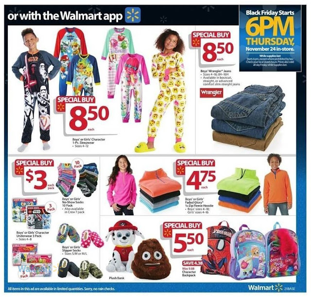 Walmart Black Friday Specials Deals Boys and Girls Clothes, Sleepwear, Jeans, Shorts