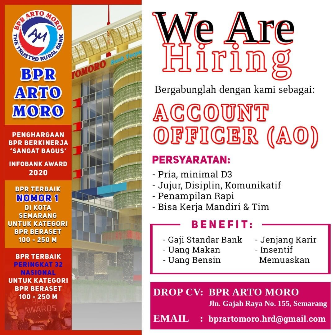 BPR Arto Moro Semarang Membuka Lowongan Kerja Sebagai Account Officer
