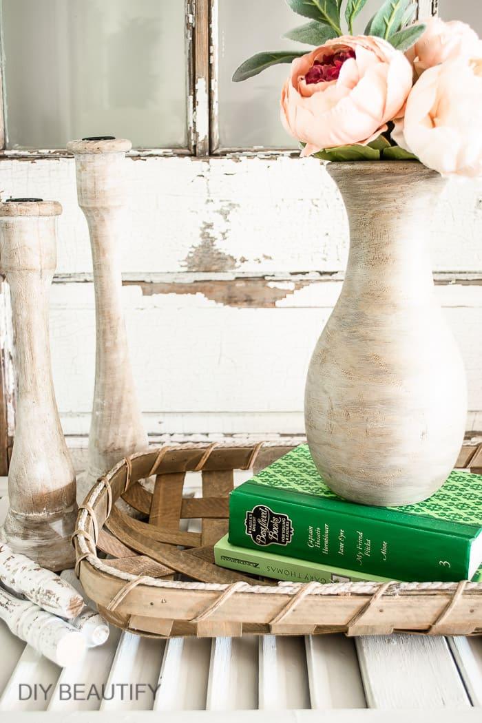 wood vase with raw wood finish