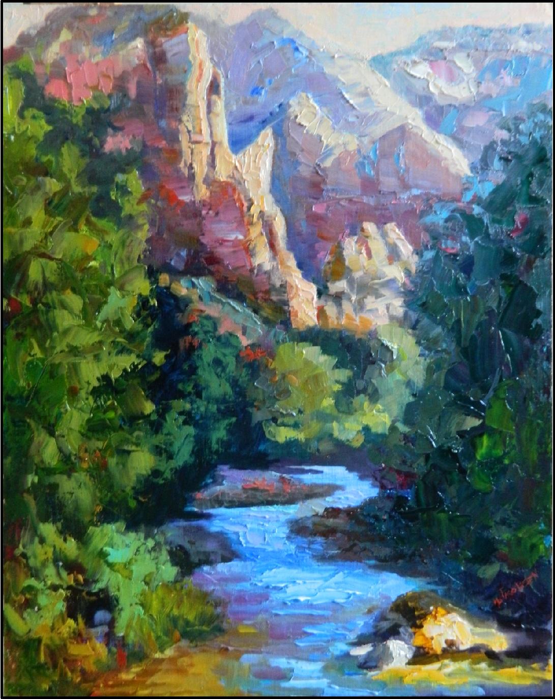 Return to zion 16x20 oil on linen zion national park painting the watchman virgin river palette knife landscapes maryanne jacobsen art