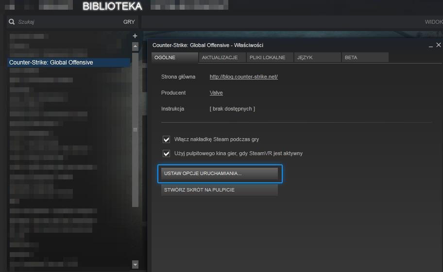 Opcje uruchamiania w CS GO