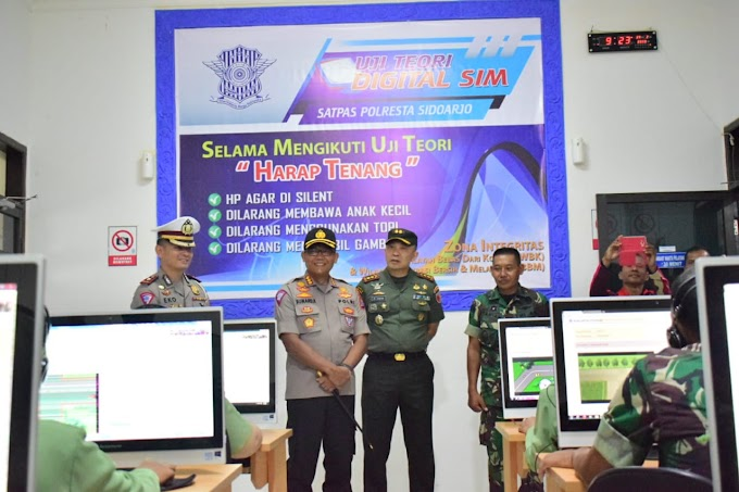 Sinergitas TNI-Polri Awali Soft Launching SIM Minggu Melayani Polresta Sidoarjo