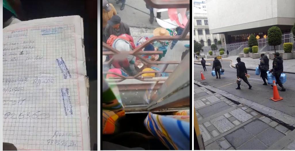 Cuadernos con nombres y montos para los grupos de choque en Cochabamba / Adeptos en El Alto cobrando Bs 50 luego del cerco a Camacho el lunes / Policías llevando alimentos a su guarnición y donde se encuentran los movimientos sociales aliados al MAS / RRSS COLAGE