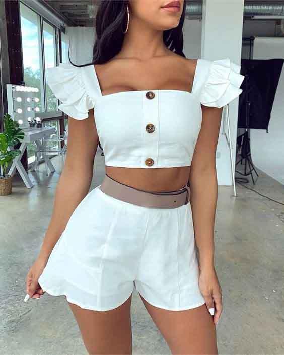 Short branco e cropped branco