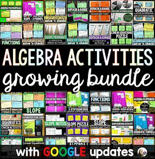 Algebra Activities Bundle w/ GOOGLE updates