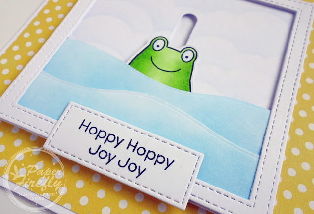 Handmade card with jumping frog (using Toad-ally awesome stamps/dies and volcano slider die from My Favorite Things)