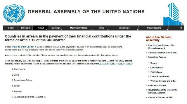 Venezuela pierde por maula, su capacidad de voto en la ONU