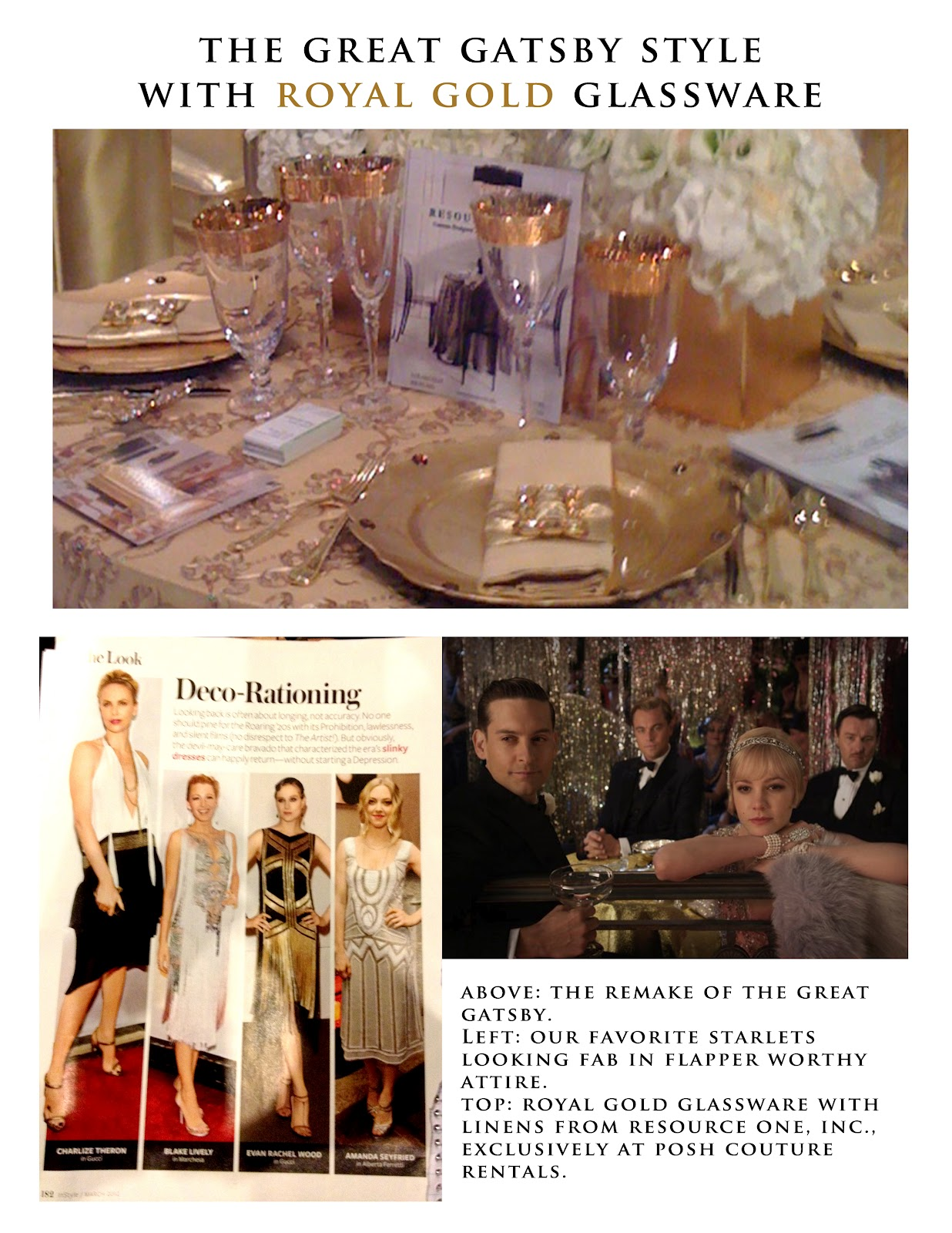 Moodboard: Gatsby Meets Royal Gold | POSH Couture Rentals