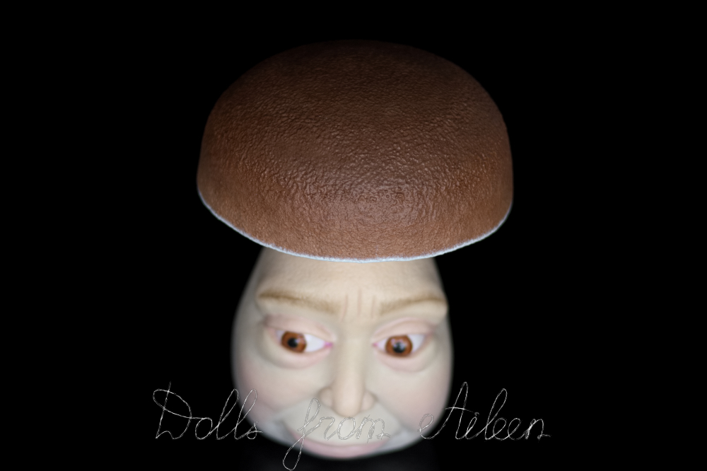 OOAK clay enchanted mushroom sculpture, view of cap from above
