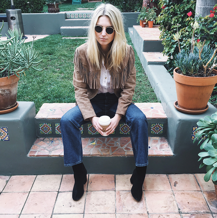 Vintage suede jacket, ASOS jeans, Ray-Ban Lennon sunglasses, Free People boots