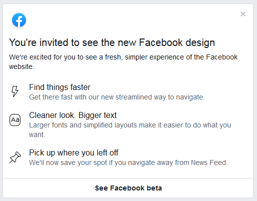 Invited Facebook Beta