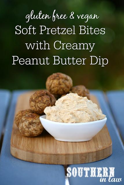 Vegan Soft Pretzel Bites Recipe with Creamy Peanut Butter Dip - low fat, gluten free, clean eating recipe, vegan, egg free, dairy free