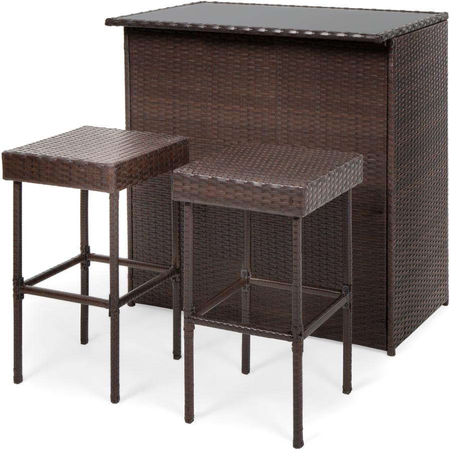 3 Piece Outdoor All Weather Wicker Bar Table Set W 2 Stools Cehui5