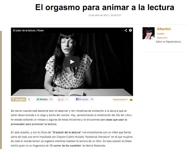 Papelenblanco.com   'El orgasmo para animar a la lectura', por Albertini