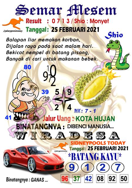 Syair Semar Mesem Sdy Kamis 25 Februari 2021