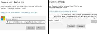Account Microsoft usato da altre app