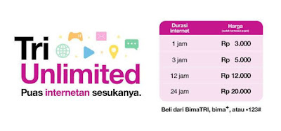 Daftar Paket Internet Unlimited Tri