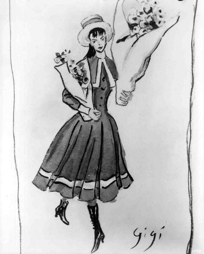 Cecil Beaton Sketch for 1958 Film Gigi Best Costume Design