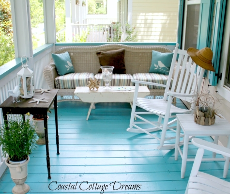 beach porch painted blue