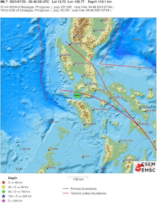 Magnitude 6.7 Earthquake Strikes Off Philippines