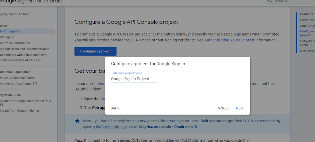 Configure a project on Google Developers for Google Sign-In to your Android Application